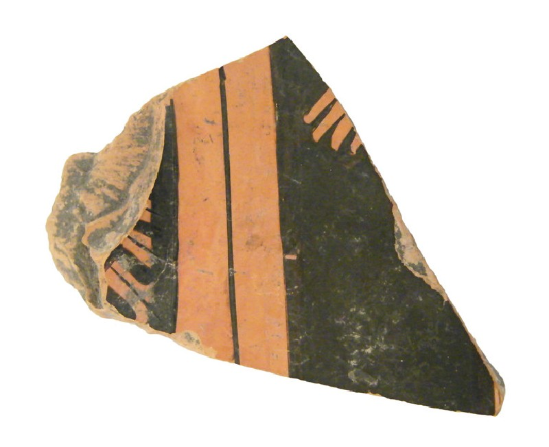 Attic red-figure pottery closed vessel sherd depicting a religious scene (AN1966.856, AN.1966.856, record shot)