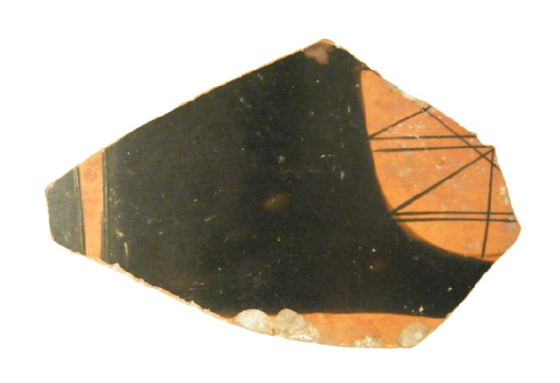 Attic red-figure pottery open vessel sherd depicting a symposiastic scene (AN1966.857, AN.1966.857, record shot)