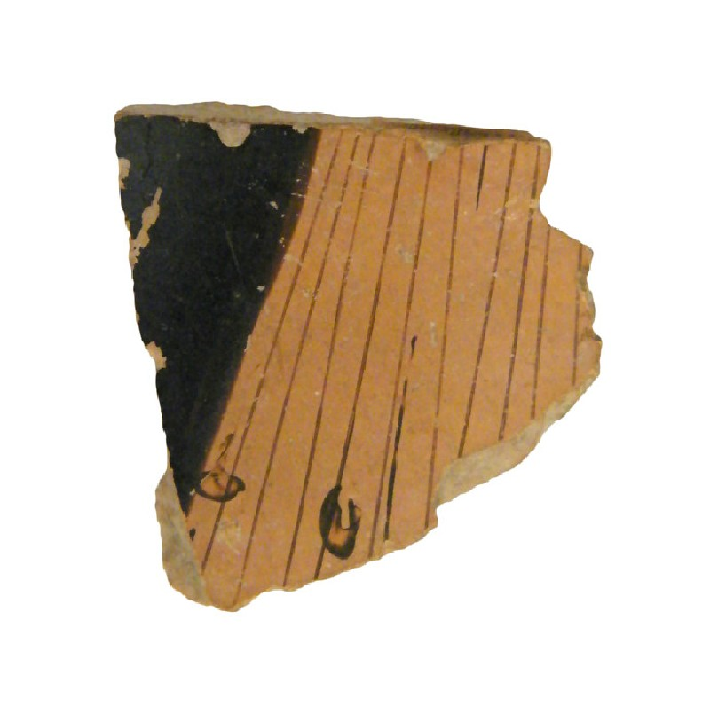 Attic red-figure pottery closed vessel sherd depicting a scene of the daily life (AN1966.863, AN.1966.863, record shot)