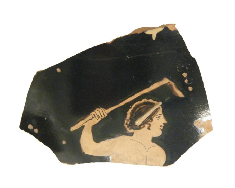 Attic red-figure pottery chous fragment depicting a Dionysiac scene