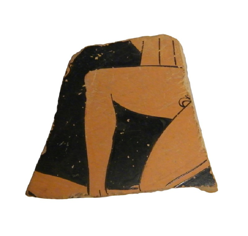 Attic red-figure pottery cup sherd (AN1966.906, AN.1966.906, record shot)