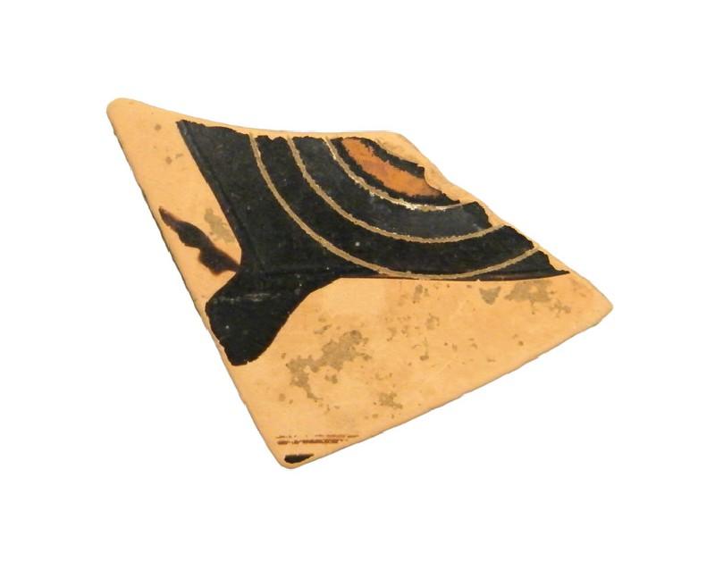 Attic black-figure pottery kyathos sherd (AN1966.976, AN.1966.976, record shot)