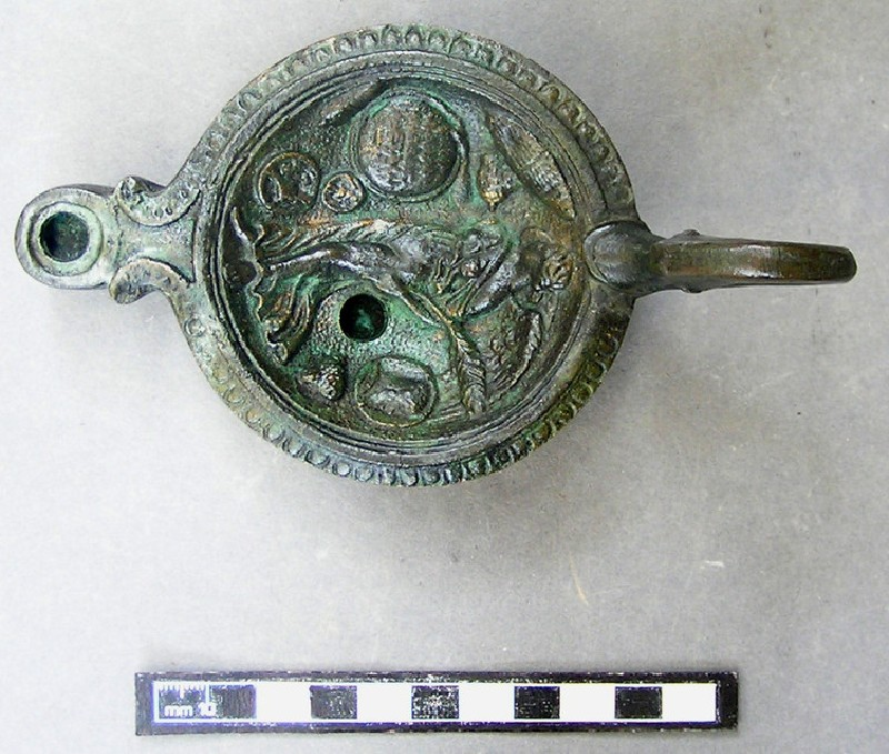 Bronze lamp with duck-head handle, Victory holding a shield, and Latin inscription