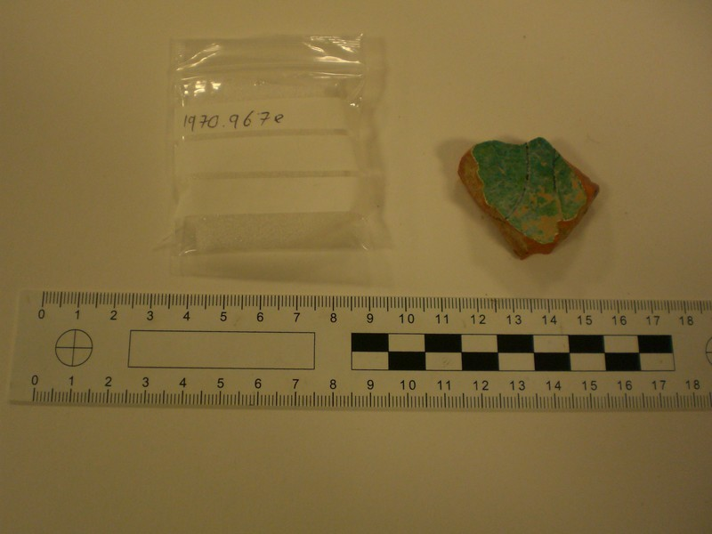Fragment of glazed Medieval sgraffito wear (AN1970.967.e, record shot)