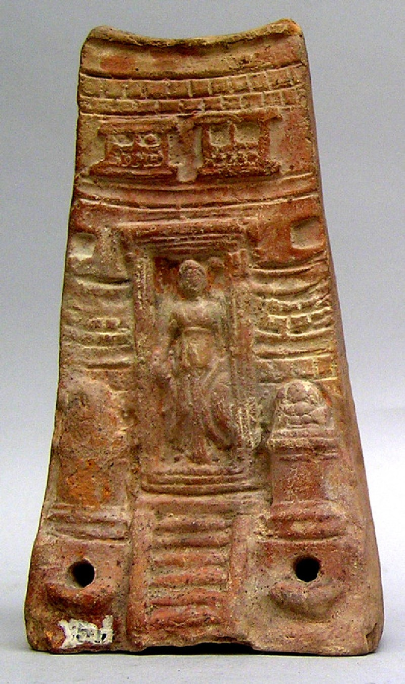 Terracotta plaque: the goddess Athena appears in the doorway of her temple
