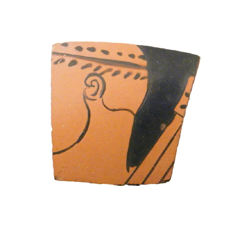 Attic red-figure pottery sherd depicting a mythological scene (AN1993.121.P140, AN.1993.121.p.140, record shot)
