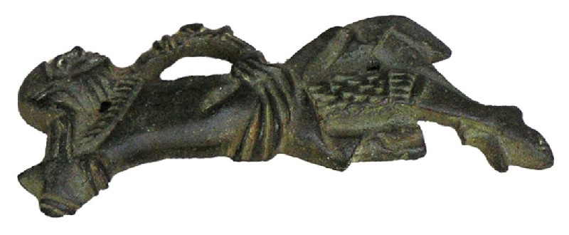 Figurine of a reclining knight with 2 nails for mounting on a gospel cover