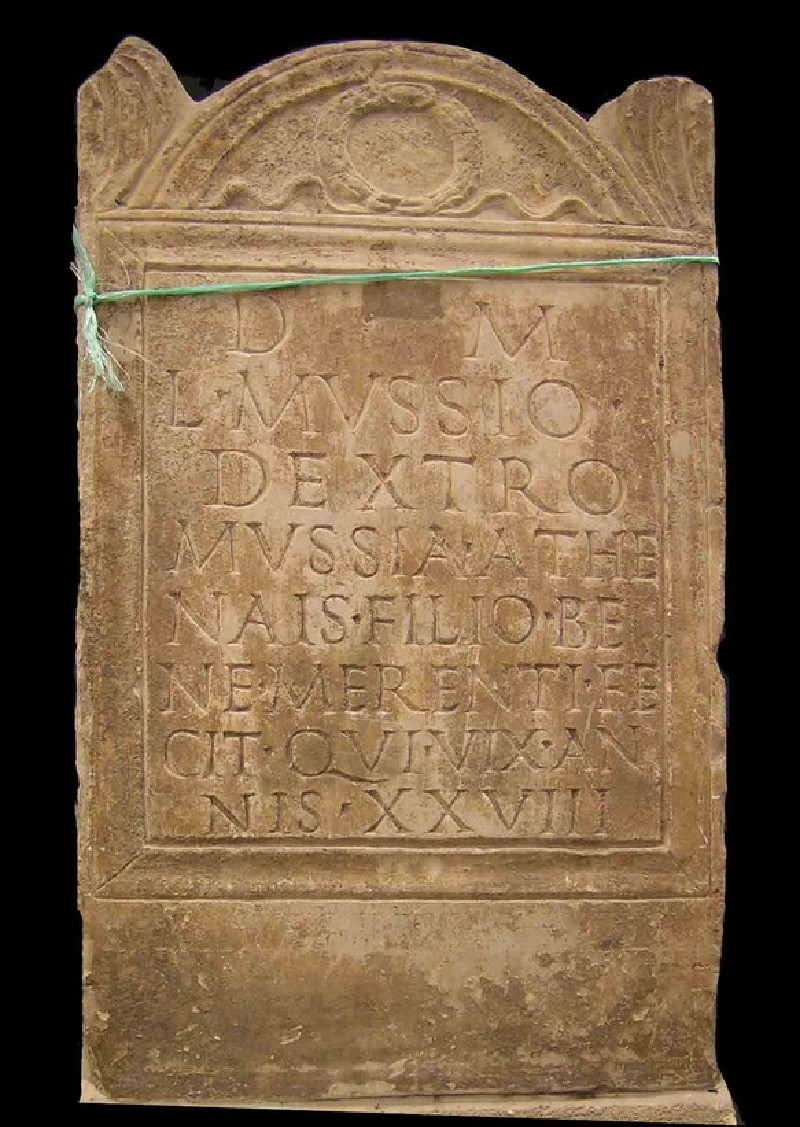 Grave stele with Latin inscription for Lucius Mussius Dexter