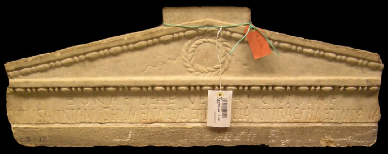 Dedicatory Latin inscription on pediment to Decimus Iunius Annianus Hymenaeus