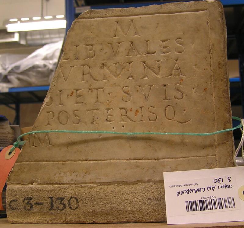 Part of funerary Latin inscription