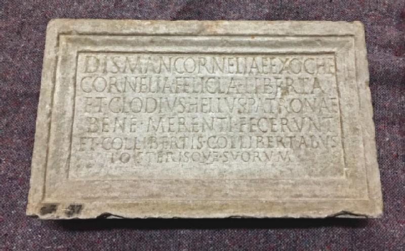 Tombstone with Latin inscription to Cornelia Exoche
