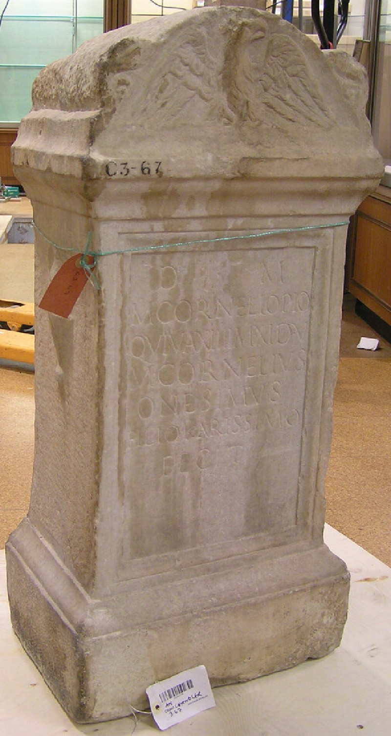Altar with Latin inscription for a child Marcus Cornelius Pius (ANChandler.3.67, record shot)