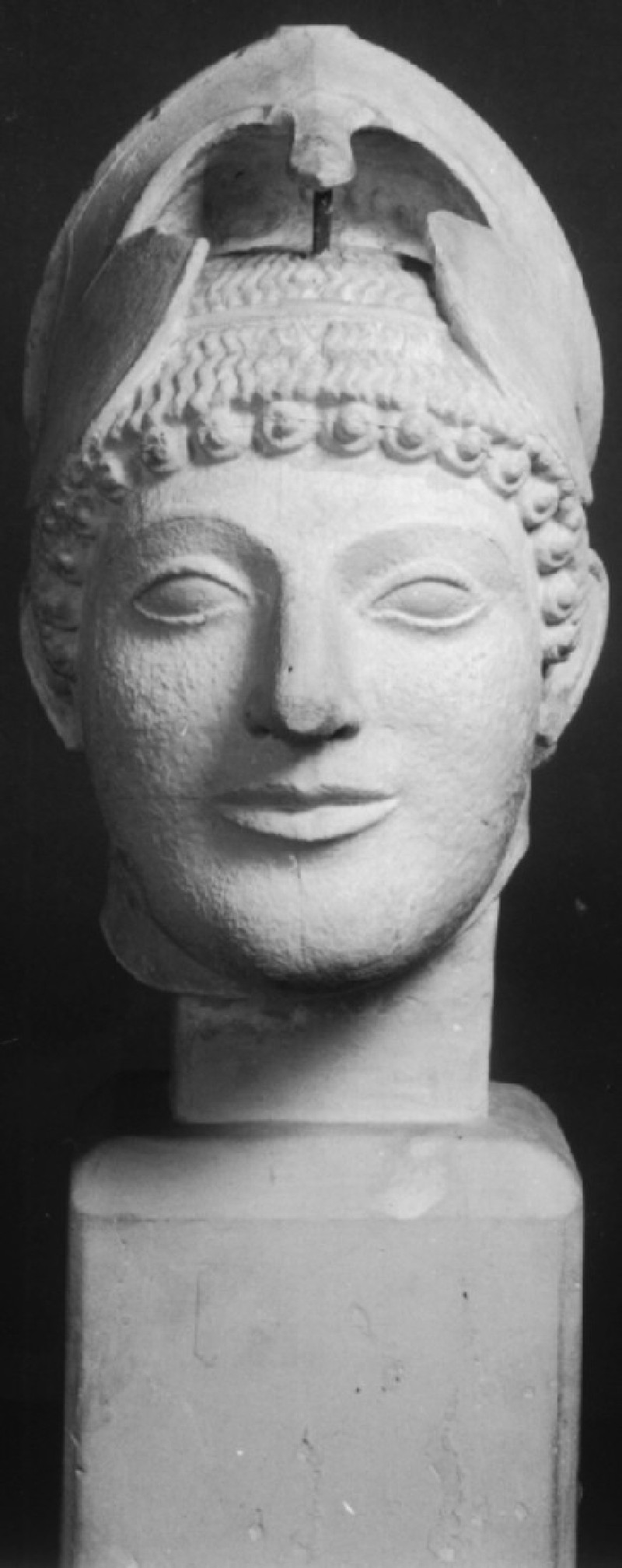 Cast of head of warrior from the west pediment of the Temple of Aphaia, Aigina