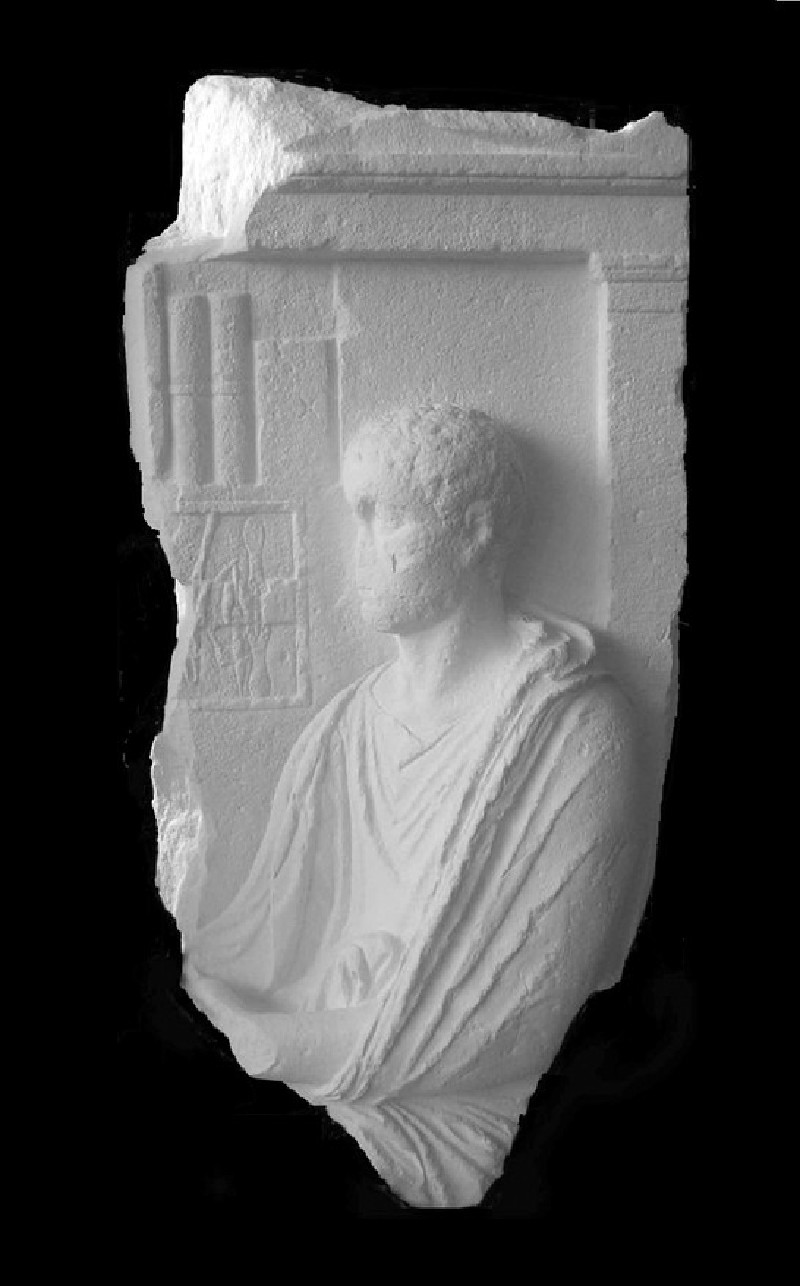 Cast of a fragment of an Athenian grave relief, later recarved to show a surgeon