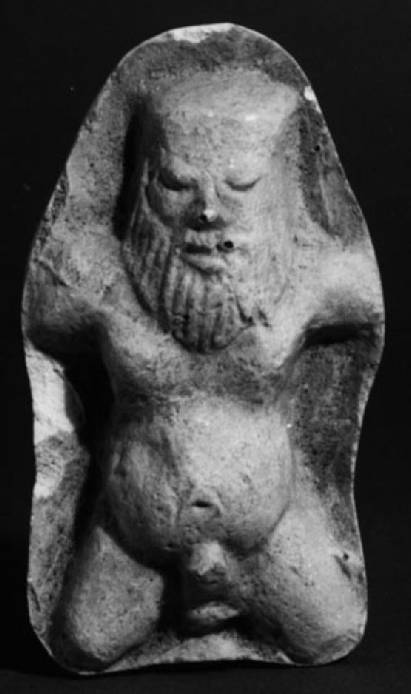 Cast of a mould pressed relief with a satyr