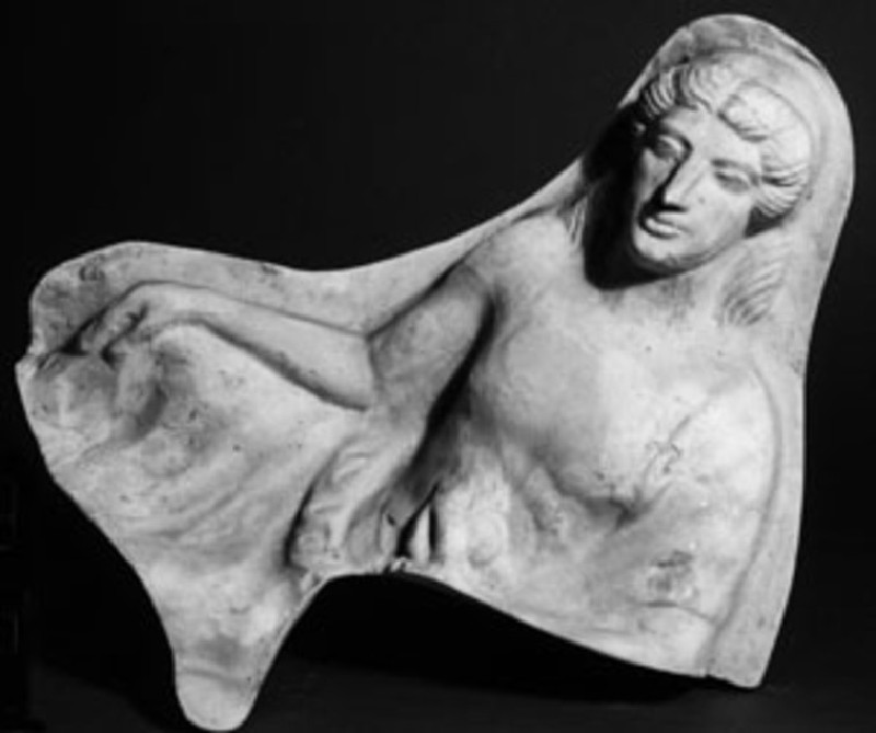 Cast of a mould pressed relief with a reclining youth
