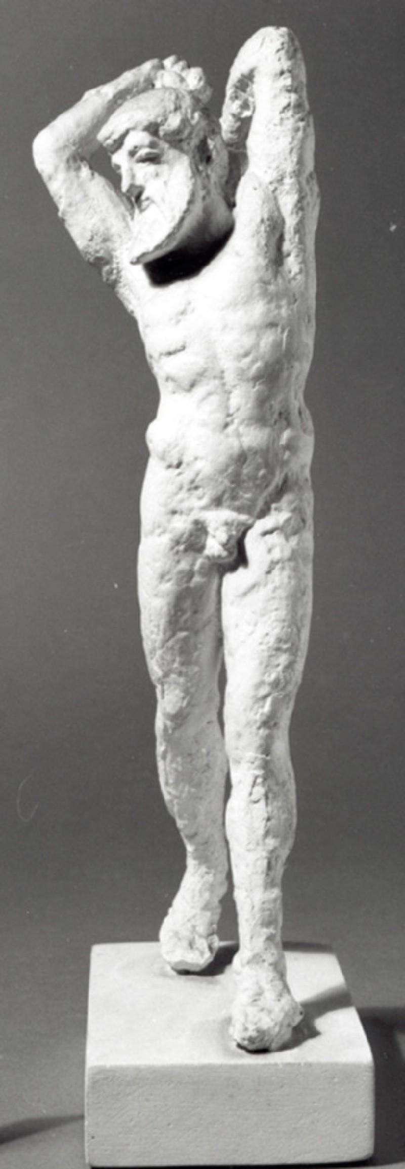 Cast of a statuette of a naked, bearded man