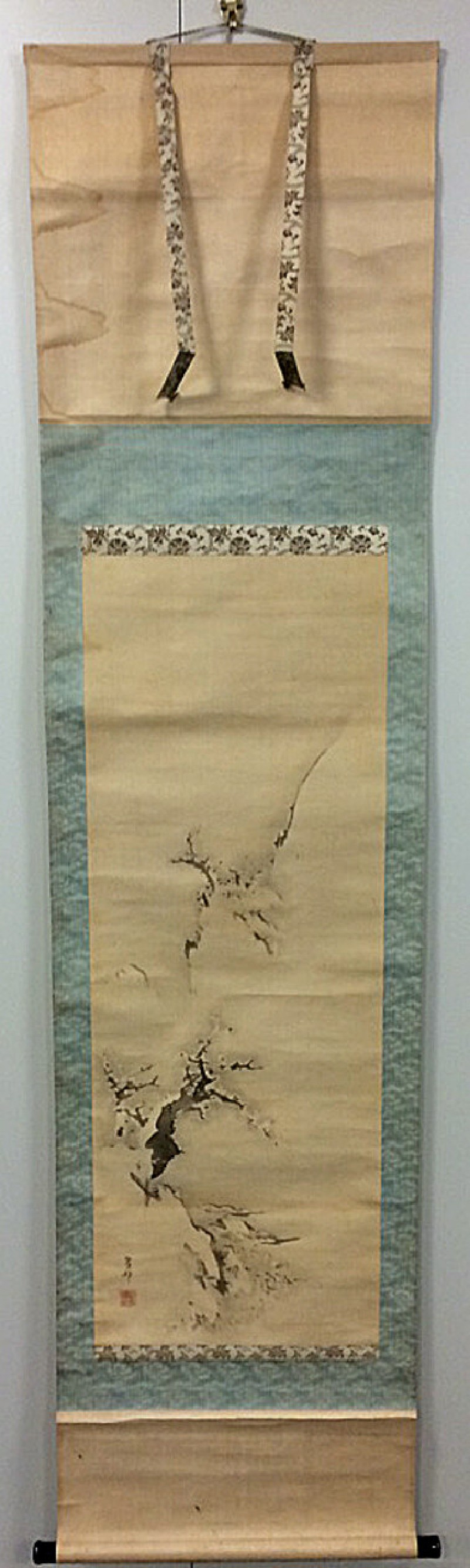 Hanging scroll of plum tree in the snow