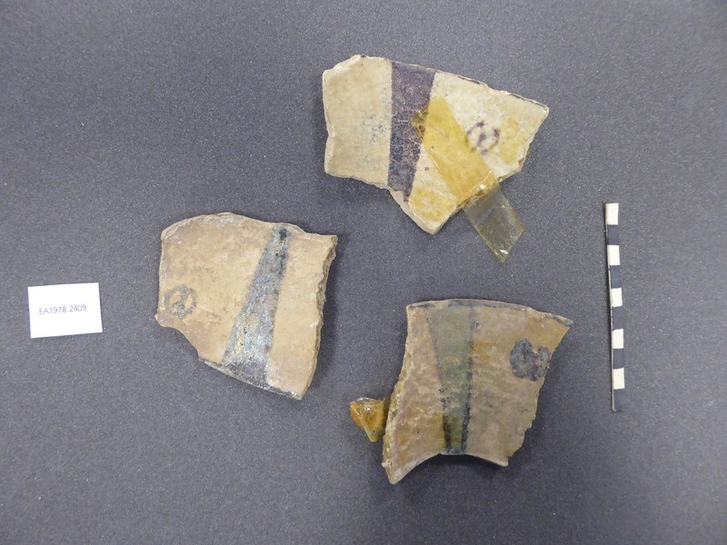 Three fragments of a vessel with radiating lines (EA1978.2409, record shot)