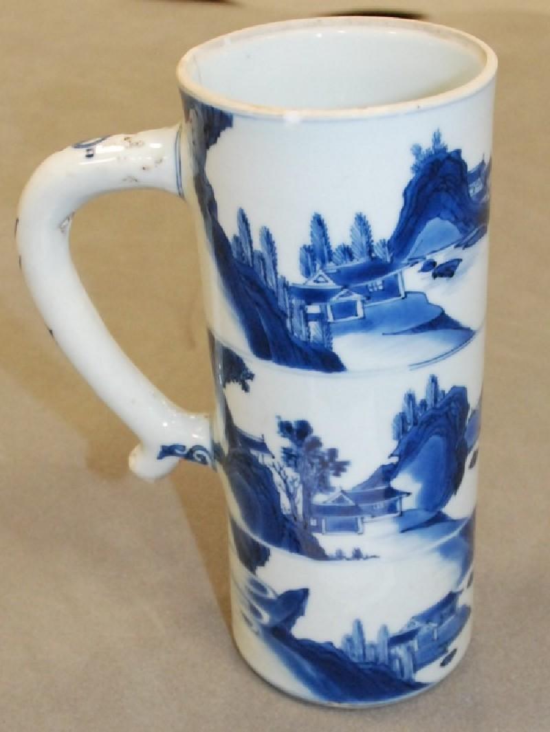 Blue and white beer mug