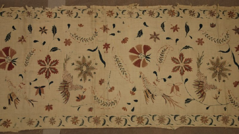 Cotton panel with floral motifs, foliage sprays, birds and butterflies (EA2014.108, record shot)
