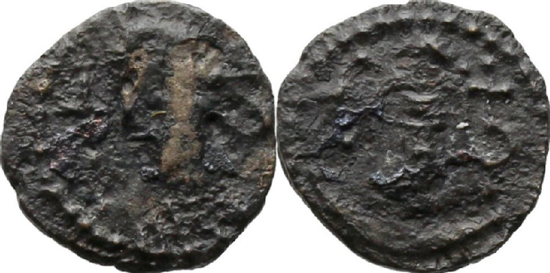 Medieval coin (HCR20690, obverse and reverse, record shot)