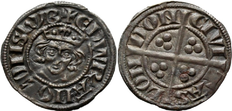 Medieval coin (HCR36566, obverse and reverse, record shot)