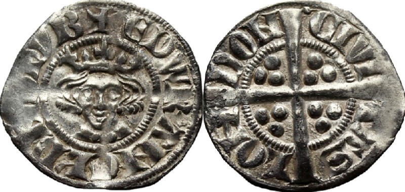 Medieval coin (HCR36639, obverse and reverse, record shot)
