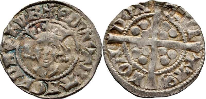 Medieval coin (HCR36734, obverse and reverse, record shot)