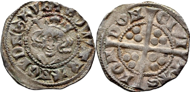 Medieval coin (HCR36735, obverse and reverse, record shot)