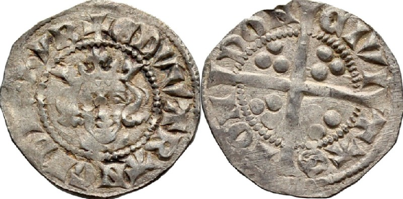 Medieval coin (HCR36743, obverse and reverse, record shot)