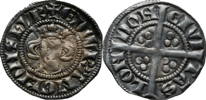 Medieval coin (HCR36823, obverse and reverse, record shot)