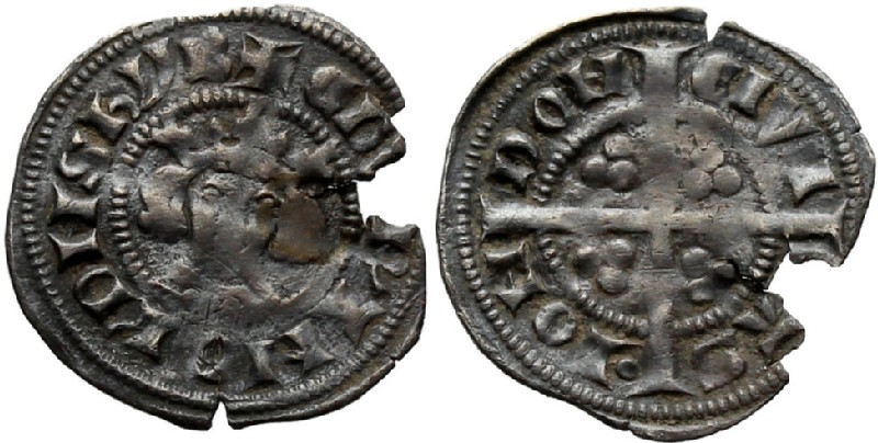 Medieval coin (HCR36831, obverse and reverse, record shot)