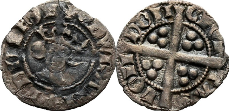 Medieval coin (HCR36841, obverse and reverse, record shot)