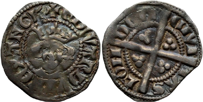 Medieval coin (HCR36855, obverse and reverse, record shot)