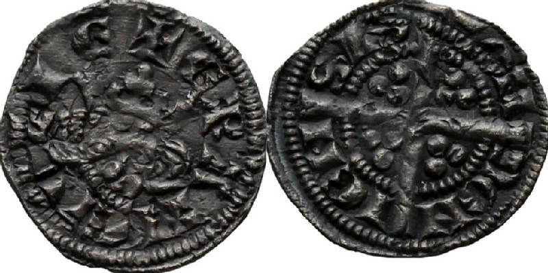 Medieval coin (HCR36914, obverse and reverse, record shot)