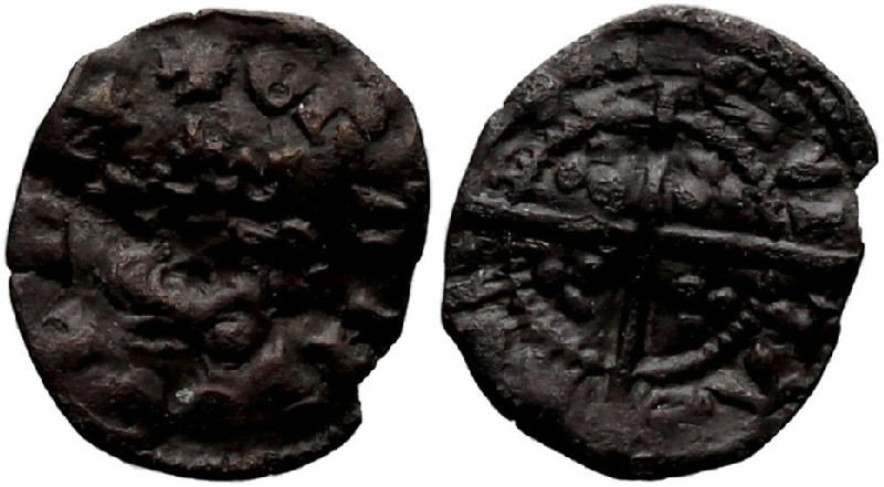 Medieval coin (HCR36961, obverse and reverse, record shot)