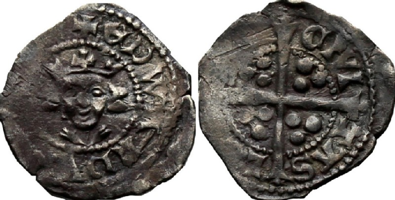 Medieval coin (HCR37007, obverse and reverse, record shot)