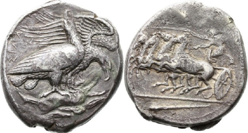 Ancient Greek coin (HCR42159, obverse and reverse, record shot)