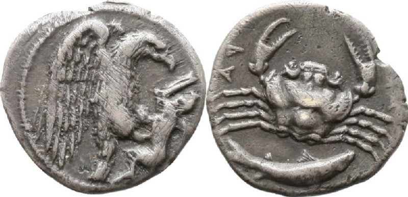 Ancient Greek coin (HCR42165, obverse and reverse, record shot)
