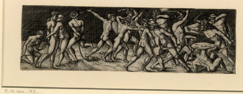 Fight between eleven naked warriors in various contortions (WA1863.10486, record shot)