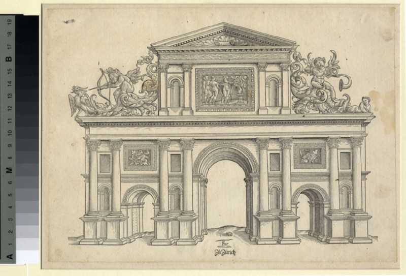Architectural design for a triumphal arch with probably the Moirai at top, Cupid aiming for a duck at top left and a putto playing the trumpet at top right (WA1863.11037, record shot)