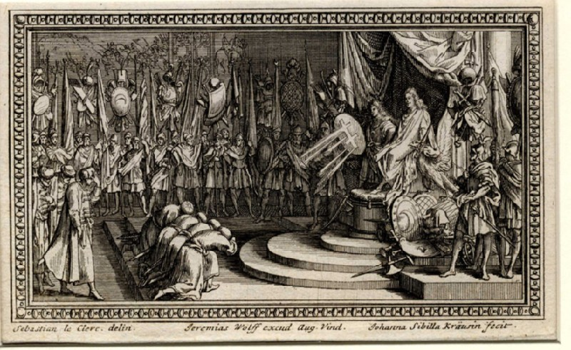 Turkish ambassadors bowing before Emperor Leopold, seated enthroned at right, with Charles V of Lorraine standing at his side, copy