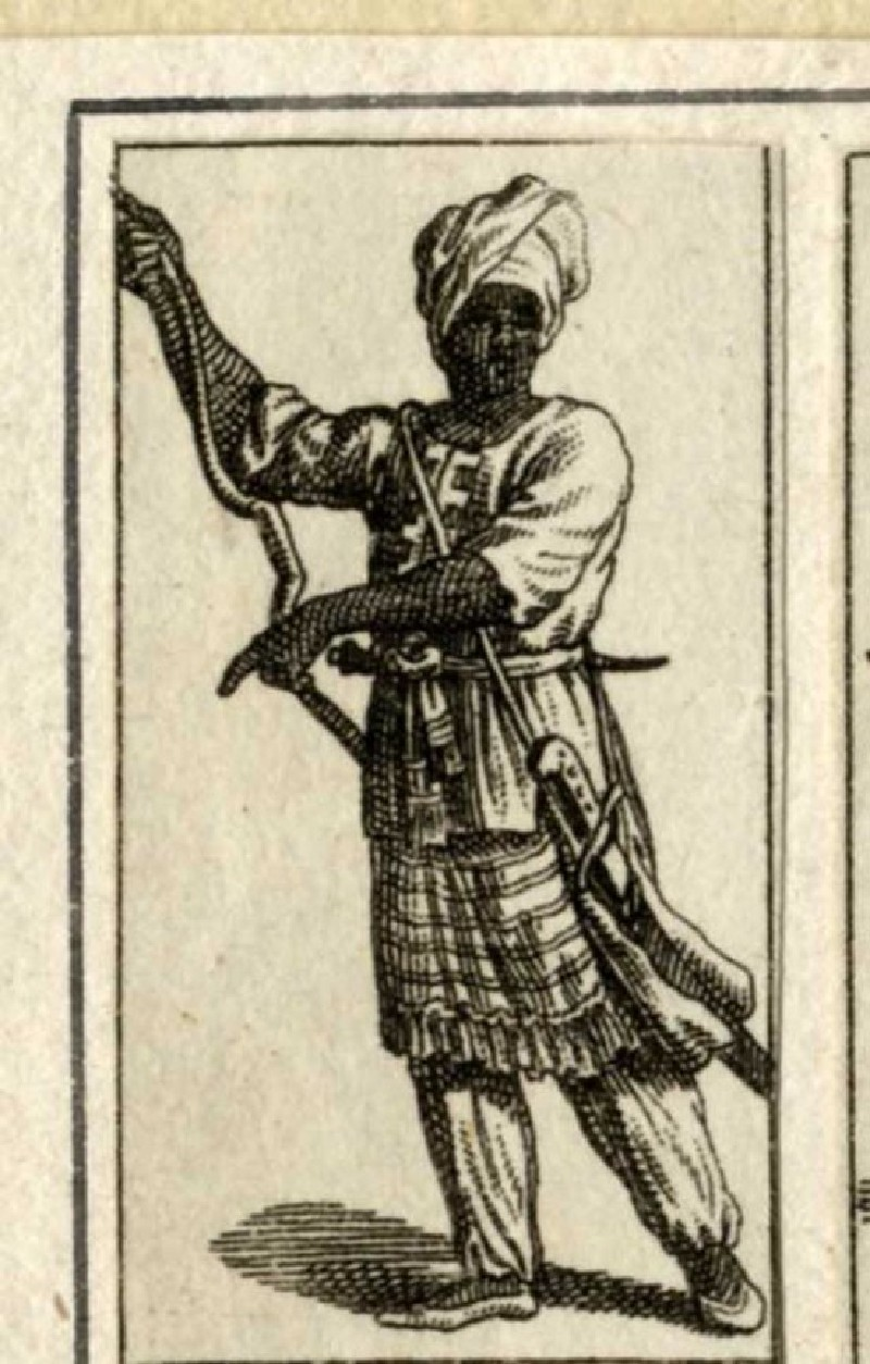 Indian man wearing a turban, with a saber hanging from his belt (WA1863.11313, record shot)
