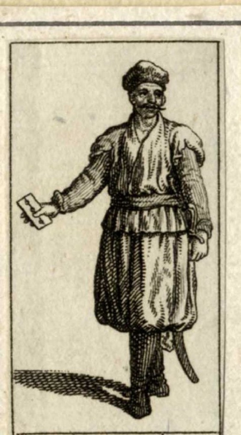 Turk wearing a turban, holding a playing card in his hand (WA1863.11314, record shot)