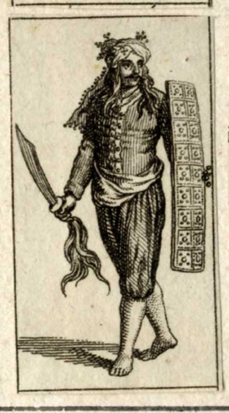 Soldier with long hair, carrying a sword and an oblong shield