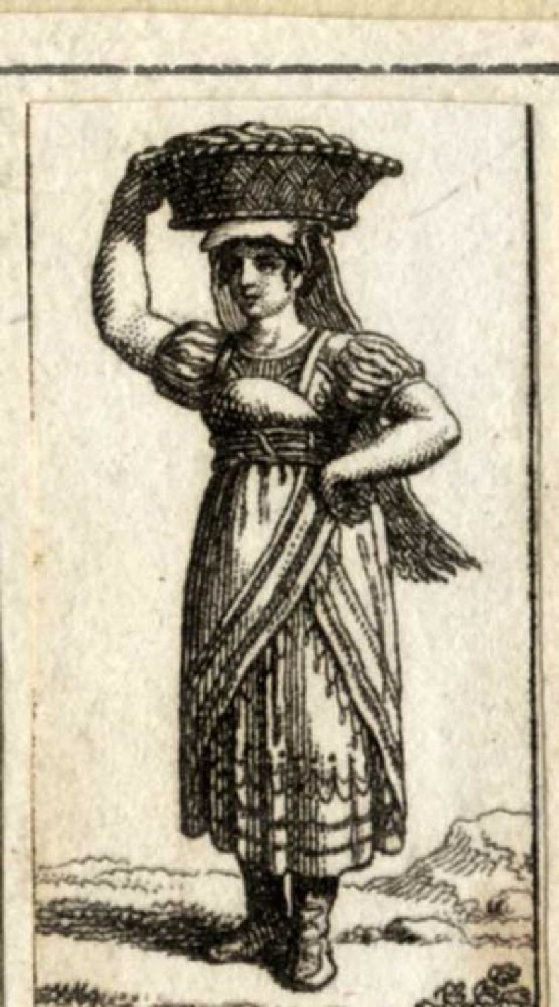 A woman carrying a basket on her head (WA1863.11320, record shot)