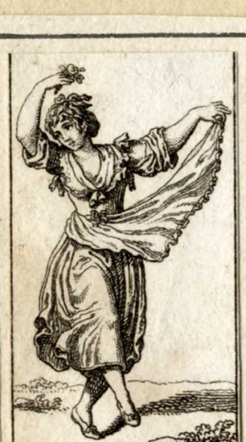 A woman dancing holding the skirt of her dress