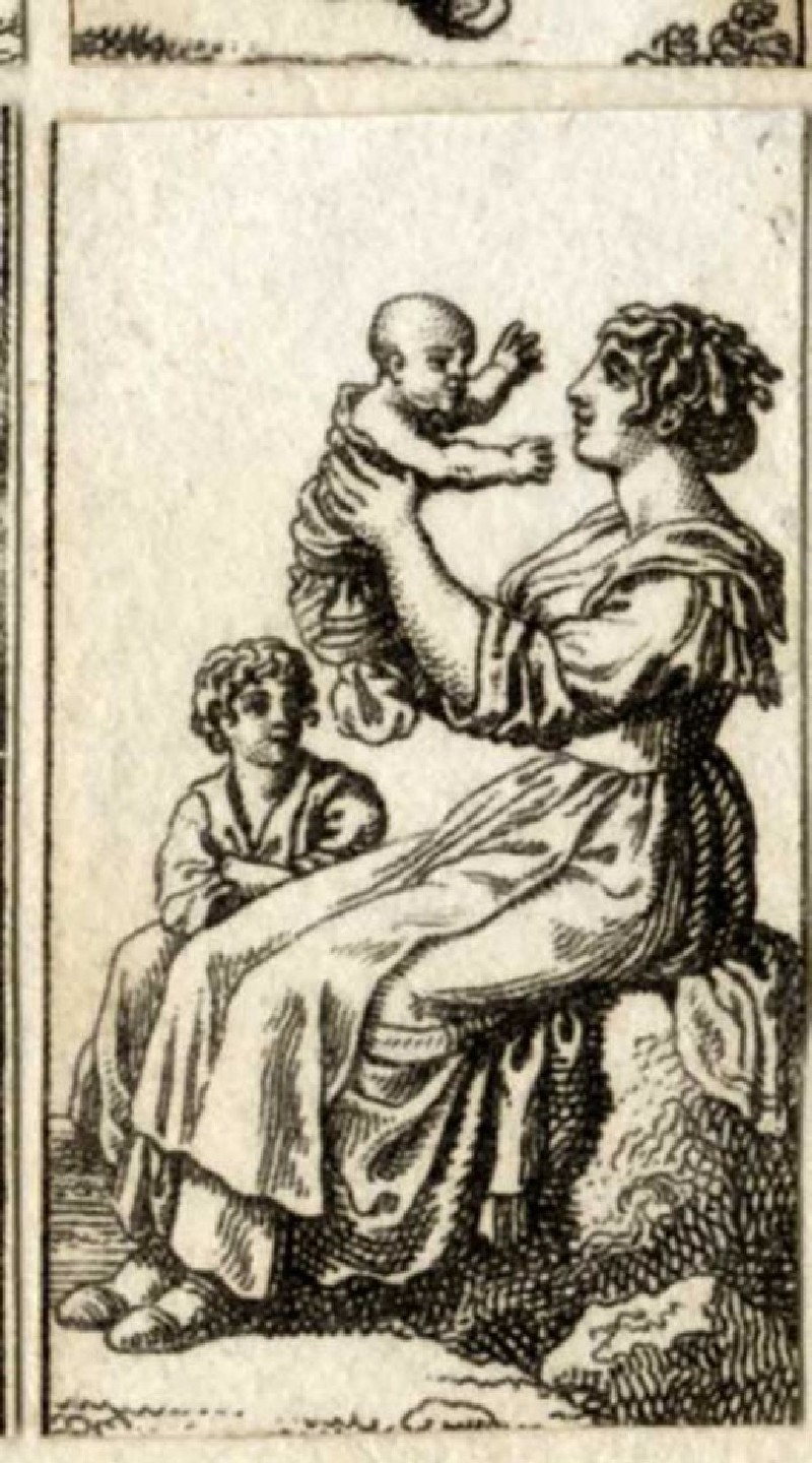A seated woman holding a baby, a children next to her (WA1863.11323, record shot)