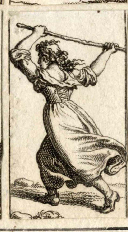 A woman raising a stick above her head (WA1863.11324, record shot)